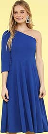 KarenT-8026-Royal - One Shoulder Style Womens Midi Dress