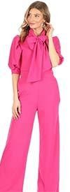 KarenT 8030-Fuchsia - Cuffed Half Sleeve Womens Jumpsuit Featuring Bow Neckline