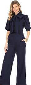 KarenT 8030-Navy - Cuffed Half Sleeve Womens Jumpsuit Featuring Bow Neckline