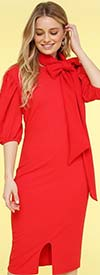 KarenT-8032 - Womens Knit Dress With Puff Sleeves And Bow Sash
