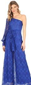 KarenT-9001KT-Royal - One Shoulder Split Sleeve Ladies Jumpsuit In Lace Design