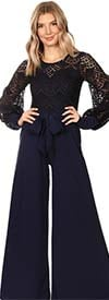 KarenT 9002-Navy - Bishop Sleeve Womens Lace Illusion Top Wide-Leg Jumpsuit With Pockets