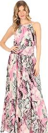 KarenT 9017D-Multi - Ladies Sleeveless Smocked Maxi (Long) Dress