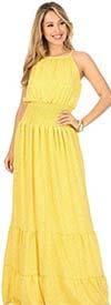 KarenT 9017D-Yellow - Ladies Sleeveless Smocked Maxi (Long) Dress