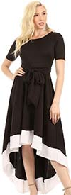 KarenT 9019-BlackWhite - Womens Two-Tone High-Low Style Knit Dress With Sash