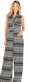 KarenT 9020-BlackWhite - Sleeveless Wide Leg Style Womens Print Design Jumpsuit With Pockets