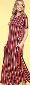 KarenT-9022-Red - Womens Short Sleeve Long (Maxi) Dress With Pockets In Multi Stripe Print