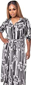 KarenT-5062N-BlackWhite - Striped Floral Print Womens Maxi Dress With Tie Accents