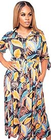 KarenT-5062N-Multi - Floral Print Womens Maxi Dress With Tie Accents