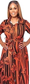 KarenT-5062N-OrangeBlack - Striped Floral Print Womens Maxi Dress With Tie Accents