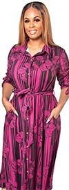 KarenT-5062N-PinkBlack - Striped Floral Print Womens Maxi Dress With Tie Accents