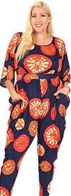 KarenT 5137P-NavyOrange - Harem Pant Style Womens Knit Print Design Jumpsuit