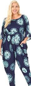 KarenT 5137P-NavyTurquoise - Harem Pant Style Womens Knit Print Design Jumpsuit