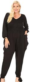 KarenT 5142-Black - Womens Jumpsuit With Ankle Bow Detail