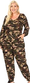 KarenT 5142-Camo - Womens Jumpsuit With Ankle Bow Detail