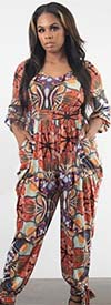 KarenT 5142-Floral - Womens Jumpsuit With Ankle Bow Detail