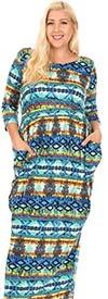 KarenT-5143-Green - Womens Print Pattern Maxi Dress With Pockets