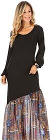 KarenT-9042-BlueMulti- Womens Chiffon Flounce Hem Dress