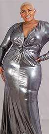 KarenT 1017 - Ladies Long Sleeve Deep V-Neck Dress
