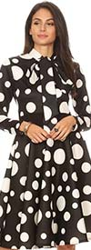 KarenT-2051P-Black/White - Long Sleeve Polka-Dot Dress With Bow Accent
