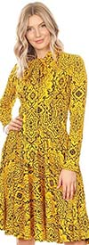 KarenT-2051P-Yellow/Black  - Long Sleeve Dress With Bow Accent