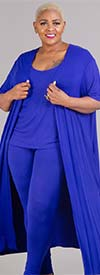 KarenT-4004 - Womens Three Piece Pant Set With Sleeveless Top And Duster Jacket