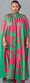 KarenT-4010-Pink-Green - Womens Long Duster Jacket And Pant Set In Print Design