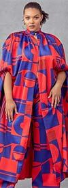 KarenT-4010-Red-Royal - Womens Long Duster Jacket And Pant Set In Print Design