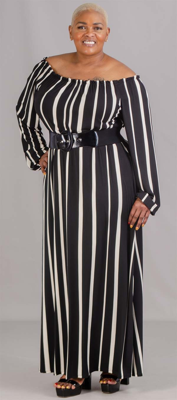 KarenT-5036-Black/White - Ladies Off-Shoulder Gathered Neckine Dress In Striped Print