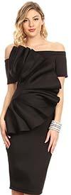 KarenT-5058-Black - Short Sleeve Dress With Off Shoulder Design And Ruffle Adornment