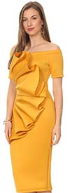KarenT-5058-Mustard - Short Sleeve Dress With Off Shoulder Design And Ruffle Adornment