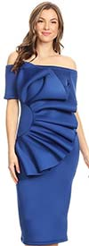KarenT-5058-Royal - Short Sleeve Dress With Off Shoulder Design And Ruffle Adornment