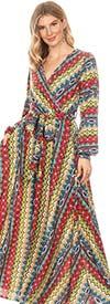 KAR-5095 - Long Sleeve Mock Wrap Maxi Dress In Multi Print Design