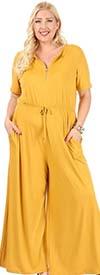KarenT-5120-Mustard - Short Sleeve Womens Zipper Placket Jumpsuit