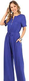KarenT-5120-Royal - Short Sleeve Womens Zipper Placket Jumpsuit