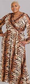KarenT-5121-Animal - Chiffon Fabric Long Sleeve Maxi Dress With Sash