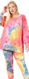 KarenT-KAR-5149-Pink Print- Womens Tie-Dye Design Top And Pant Set