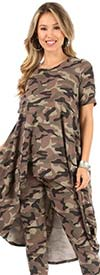 KarenT-5151-Camo - Womens High-Low Style Top And Pant Set In Camouflage Print