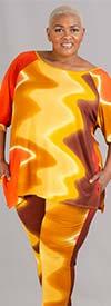 KarenT-5152-Yellow Multi - Womens Off Shoulder Design Top And Pant Set