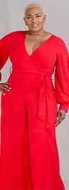 KarenT-6016BN - Bishop Sleeve Surplice V-Neckline Ladies Wide Leg Jumpsuit