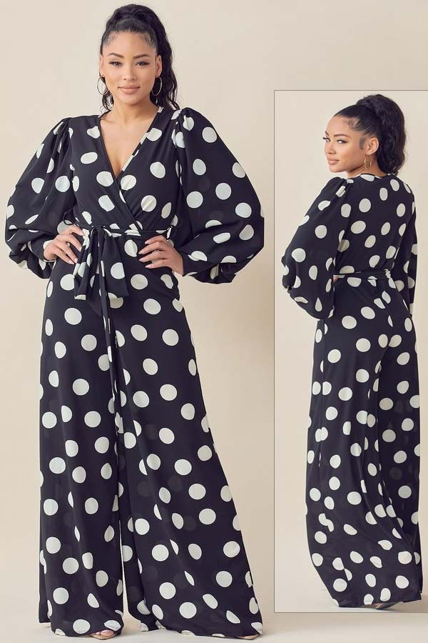 KarenT 6016NP-Black/White - Womens Polka Dot Print Bishop Sleeve Surplice Neckline Jumpsuit