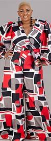 KarenT 6016NP-Red/Black - Womens Bishop Sleeve Surplice Neckline Jumpsuit