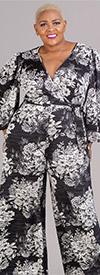 KarenT-6016NSF-Black-White-Floral - Womens Mock Wrap Style Jumpsuit In Floral Print Design