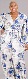 KarenT-6016NSF-Blue-White-Floral - Womens Mock Wrap Style Jumpsuit In Floral Print Design