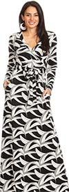 KarenT-6053L41-Black/White - Long Sleeve Knit Faux Wrap Maxi Dress In Print Design