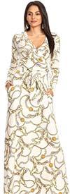 KarenT-6053L41-White/Gold - Long Sleeve Knit Faux Wrap Maxi Dress In Print Design