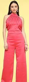 KarenT-7014-Coral - Womens Halter Style Knit Jumpsuit