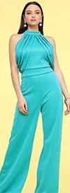 KarenT-7014-Turquoise - Womens Halter Style Knit Jumpsuit