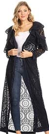 KarenT-8007D-Navy - Ruffle Sleeve Lace Design Womens Duster