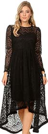 KarenT-8012-Black - Long Sleeve Womens High-Low Style Lace Overlay Dress With Back Zip